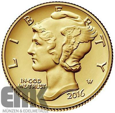 USA 10 Cents 2016 - One Dime - 100 Jahre Mercury Dime - 1/10 Unze Gold ST