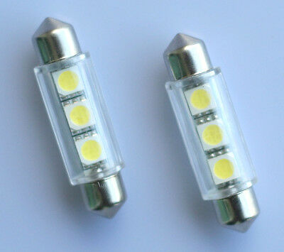 2x 42mm Soffitte Lampe C10W 3 x 5050 SMD LED weiss Innenraum Beleuchtung 12V