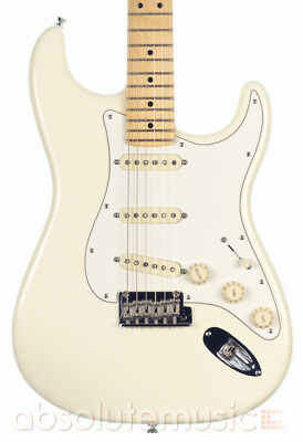Fender American Standard Stratocaster Electric Guitar Olympic White, Maple Neck