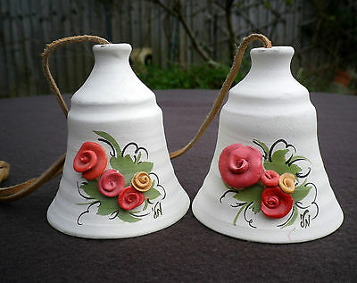 Vintage Pair Israeli Art Pottery Ceramic Bells with Flowers Leather