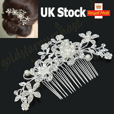 Bridal Wedding Crystal Jewel Diamante Hair Comb Hair Piece Clip Slide Fascinator