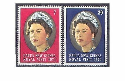 Papua New Guinea 1974 ROYAL VISIT (2) Unhinged Mint SG 268-9