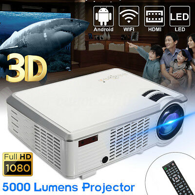 5000Lumen 1080P HD 3D WIFI LED Projektor Heimkino Beamer Multimedia HDMI USB AV