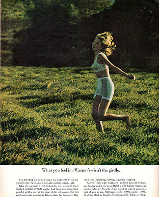Warner's Wallpaper Girdle STRETCHBRA Hungry Look MODEL RUNNING IN FIELD 1963 Ad