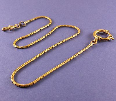"""Vintage Pocket Watch Fob Chain Round Bar Links 16 3/4"""" Long Extra Large Clasp"""