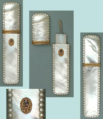 Antique Mother Of Pearl Palais Royal Needle Case w/ Enameled Pansy * Circa 1820