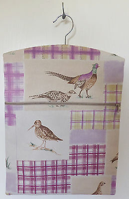 "Hand Made Peg / Hanging Storage Bag Lined/Zipped 12½"" x 16"" MOORLAND ANIMALS"