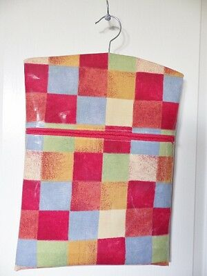 "HandMade OILCLOTH Peg/Hanging Storage Bag Zipped 12½"" x 16"" Red Chequer"