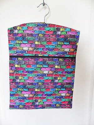 "Hand Made Peg / Hanging Storage Bag Lined/Zipped 12½"" x 16"" MULTI COLOUR BRICKS"