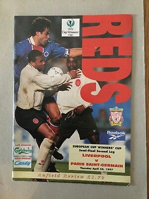 LIVERPOOL v PARIS SAINT-GERMAIN ( ECWC S/F ) 1996/7.