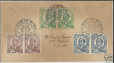 Philippines 1944 republic anniversary imperforate pairs on first day cover