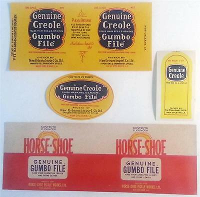 3 Vintage Genuine Creole Labels and a Horse-Shoe Gumbo File New Orleans, La.