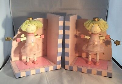 Pair Of Wooden Fairy Princess Bookends