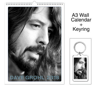 Dave Grohl Foo Fighters 2018 Wall Holiday Calendar + Keyring