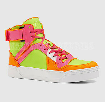 76a0f08bcc4  795 Gucci Ladies Sneakers Neon Leather Hitop Basketball Style Logo 39.5G  Us 10