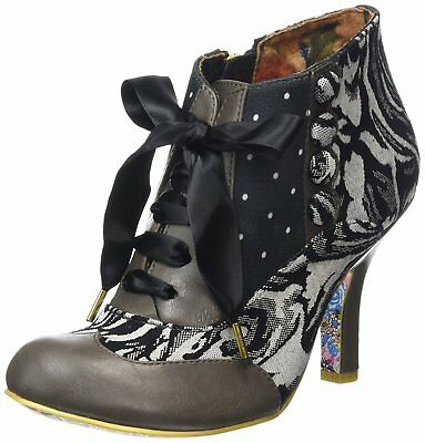 Irregular Choice Blair Elfglow Grey Heel Vintage Ankle Boots Shoes Sizes 3-8 New