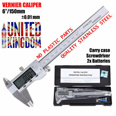"Digital LCD 6"" Vernier Metal Caliper 150mm Micrometer Electronic Gauge With Case"