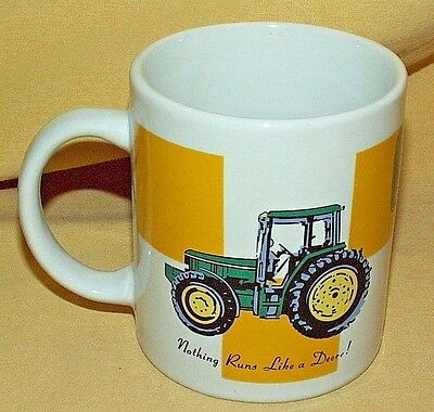 John Deere Mug Cup Nothing Runs Like Logo Gibson Tractor Yellow Checkerboard
