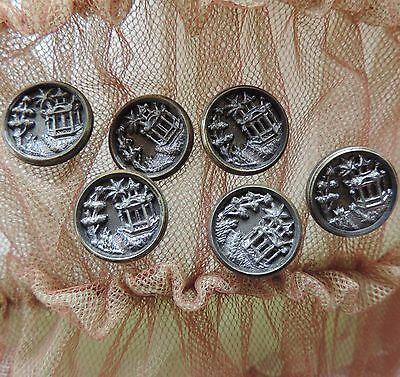 Antique Metal Picture Buttons Lot 6 Matching Gazebo Tree Landscape Button