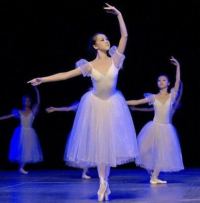 Women Tutu Organdy Dress Ballet Cap Sleeves Ice Skating Dance Costume Adult W342