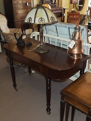 Gorgeous  Antique 1840'S D-End Mahogany Console Table On Casters