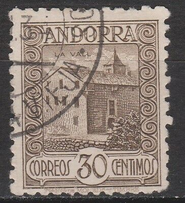 1931 SPANISH ANDORRA. LANDSCAPES 30 cts USED. SCARCE. 70 €