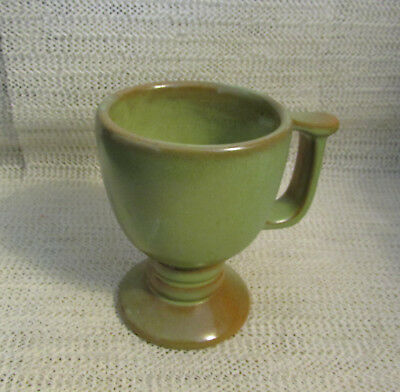 "Frankoma Pottery.. 4.25"" Prairie Green Footed Mug Cup C13"