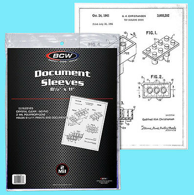 "50 BCW 8.5x11"" SOFT SLEEVES 2 MIL Photo Clear Poly 8-1/2x11 Print Document Page"