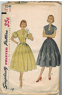 3541 Vintage Simplicity Sewing Pattern Misses 1950s Fitted Dress Gathered Skirt
