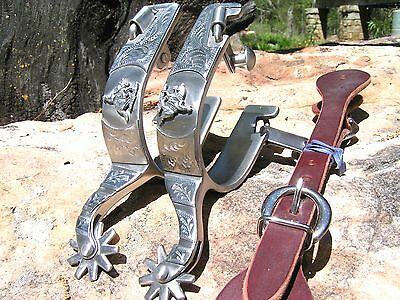 Cowboy Western Men's brushed stainless spurs WITH Leather STRAPS