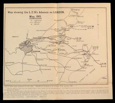 Original WWI Map Showing the Zeppelin L.Z. 38 Advance on London May, 1915