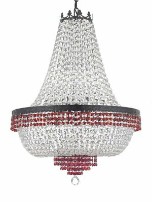 French Empire Crystal Chandelier Trimmed w/Ruby Red Crystal w/Dark Antique Finis
