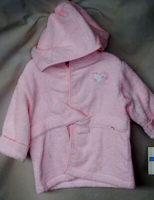 LITTLE WONDERS Pink Terry Hooded Robe GIRL SIZE 0-9 Months NWT