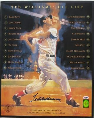 Ted Williams Boston Red Sox Signed 16x20 Hit List Photograph PSA