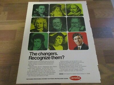 Cryovac - Benjamin Franklin - William Shakespeare - Galileo 1970 Print Ad