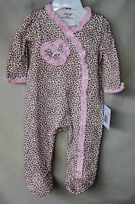 LITTLE ME 100% COTTON Long Sleeve Pink Baby Leopard Print Footie GIRL SIZES NWT