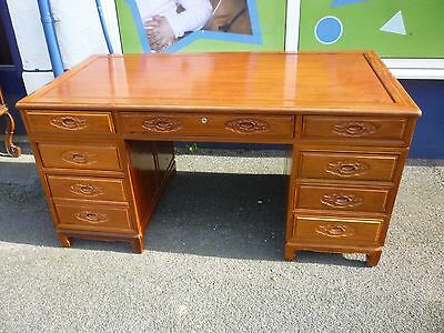 Good Looking Chinese Hardwood Double Pedestal Desk 5ft By 2.5ft