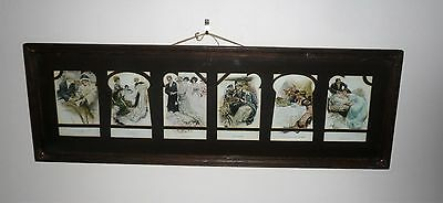 Antique Art Nouveau 6 Postcards Framed