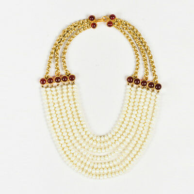 VINTAGE Chanel Faux Pearl Gold Tone Pearl Red Gripoix Multi Strand Necklace