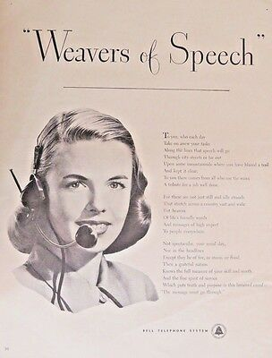 1947 vintage Ad Bell Telephone Systems  Pretty telephone Operator 110416
