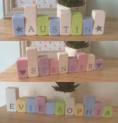 Shabby Chic /Rustic PERSONALISED Handmade Wooden Name /Letter Blocks - 65p EACH!