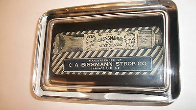 RAZOR STROP DRESSING Barber Pole Shaving MO Advertising Sign GLASS PAPERWEIGHT