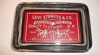 Levi Strauss Western Jeans Advertising  Sign Red Logo Glass Paperweight