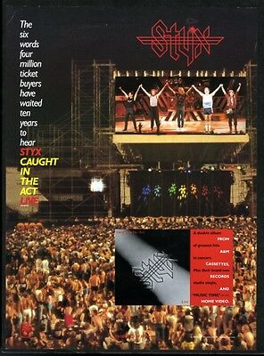 1984 Styx concert photo Caught in the Act Live album release trade print ad
