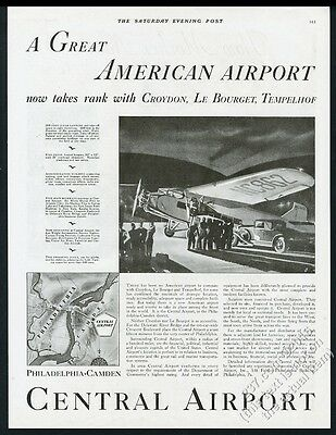 1929 Philadelphia-Camden Central Airport plane illustrated vintage print ad