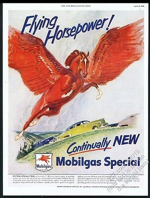 1950 Pegasus red flying horse color art Flying Horsepower Mobil gas print ad