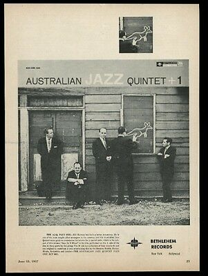 1957 Australian Jazz Quintet photo Bethlehem Records vintage print ad