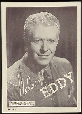 1949 Nelson Eddy photo music recital booking ad