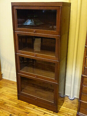 WE SHIP! 1940's Mission Style Walnut Stacking Barrister Bookcases 3 Set/Lot