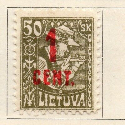 Lithuania 1922 Early Issue Fine Mint Hinged 1c. Surcharged 175622